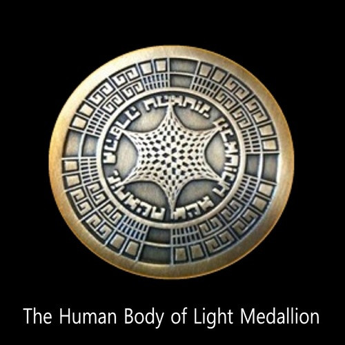 The Human Body of Light Medallion      The Human Body Of Light Medallion must be exposed to sunlight at least two hours per day.  In this way, its special solar biogeometric structure can absorb the energy necessary to help you with the growth of your light body.  We recommend that you take it off after work for a couple of hours and leave it near a window.  The Body of Light Medallion is the first tool that we have ever released that empowers the growth of the body of light.  Wearing the Body of Light Medallion triggers the process of pulling the body of light out of the Sun into the primordium.    Price: $300.00