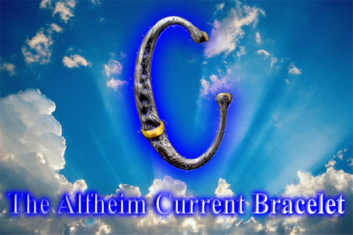 "The Alfheim Current Bracelet      We have a very special surprise for you.  We have asked a spiritual master blade-smith to create an item to collect and hold the Alfheim Current for us.  We recognize that many of you cannot afford the protection package, but we are now able to offer a less expensive alternative.  While the current package is stronger and more penetrating than the bracelet,  this item will allow you to partake in some of the uncloaked energy of this mighty current.  The Alfheim Bracelet will be fashioned from more than 30 sheets of metal flash welded into one block.  Then, the block will be pounded and moulded in the ancient way so that special carbon nanotubes are founds within the molecular structure. The special nanotubes hold the current and magnify its effects. Wearing the bracelet is a good way to connect with the current.     If you are lucky enough to have both the current protection package and the bracelet, you will find that the current and its effects will be amplified on your behalf.  The Alfheim Current Bracelet contains a beautiful magical current pattern. Because each bracelet is crafted from a different piece of metal, each one will be unique and different from the rest.  The creation process for these gems takes some time and we will receive them in about 4-6 weeks.      The Alfheim is one of the highest and oldest of the Nine Worlds.  It is the home of a race of demigod light beings known as The Light Elves.  This class of demigod-like beings was first introduced to earth in the pre-Christian mythology and religion of the Norse and other Germanic peoples.     Alfheim is a luminous world of light and great beauty. It is bathed in a continuous flow of light that is generated by the world itself. The elves are described as being self-luminous and ""more beautiful than the sun,"". The light of this world forms a continuous beacon of currents that bathe the lower worlds. Many of the conditions that plague our world may be treated with this beacon. The Dark Gods that rule this world have devised means through which this beacon is cloaked. The Alfheim Current is cloaked from all beings who do not have the technology to unlock the frequencies of the energy. In this way, the Dark Gods hide this power from us.     Price: $300"