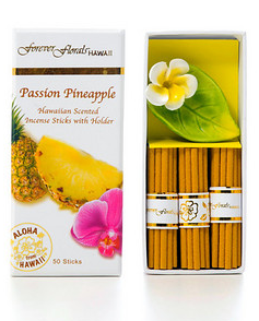 Forever Florals Passion Pineapple Incense Petite Gift Box Set (Small Incense Sticks with Holder)