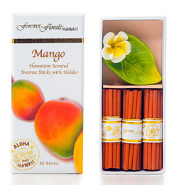 Forever Florals Hawaii Mango Incense Petite Gift Box Set (Small Incense Sticks with Ceramic Holder)