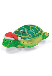 Hawaiian Hand-Painted Christmas Ornament - Honu Turtle with Santa Hat