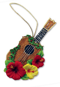 Hawaiian Hand-Painted Christmas Ornament - Holiday Ukulele with Hibiscus Lei