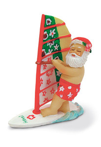 Hawaiian Hand-Painted Christmas Ornament - Windsurfing Santa