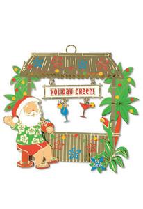 Hawaiian Hand-Painted Metal Die-Cut Christmas Ornament - Tiki Bar Santa