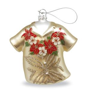Hawaiian Handblown Hand-Painted Glass Christmas Ornament - Holiday Hibiscus