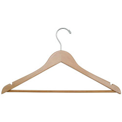 A4Forty Open Hook Wood Coat Hanger with Trouser Bar - 151-500
