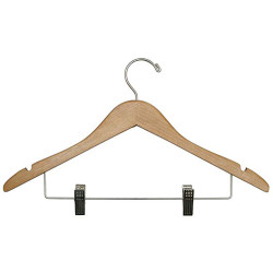 A4Forty Open Hook Wood Coat Hanger with Skirt Clips - 151-501