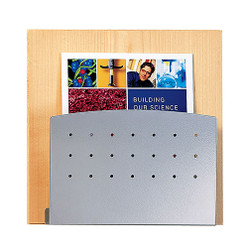 Peter Pepper 4001 Magazine Rack with Oak Back and Aluminum Metallic Front