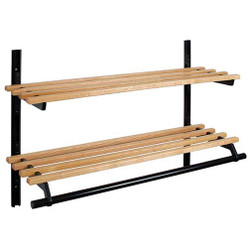 A4Forty Unlimited Double Shelf Coat Rack with Light Oak Finish 150-119