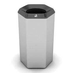 Peter Pepper HexBin Trash Can 1003-T - Steel - Open Top - 19-3/4 x 32 - 22 Gallons