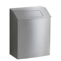 Peter Pepper HealthFIRST Trash Can IC-TX-SS - Stainless Steel - Hinged Top with Lid - Wall Mounted