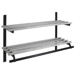 A4Forty Unlimited Coat Rack 150-129-132 - Aluminum - Wall Mount - Double Shelf - Hanger Rod - 132 Inches