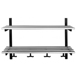 A4Forty Unlimited Aluminum Wall Mount Coat Hook Rack with Double Shelf - 150-109