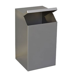 Peter Pepper TIMO Square Trash and Recycling Receptacle in Stainless Steel  Image Shown is Stainless Steel Model to Illustrate Design