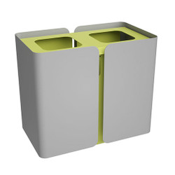 Peter Pepper SW2 Stream Deskside Recycling Wastebasket - Dual Stream in Aluminum Metallic with Lemongrass accent