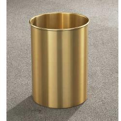 Glaro Atlantis Wastebasket, 10 x 15, 5 Gallon - 66BE - finished in Satin Brass