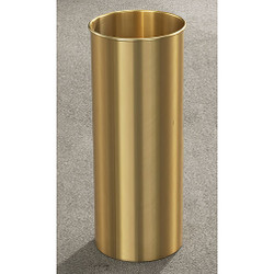 Glaro Atlantis Wastebasket - 9 x 23 - 7 Gallon - 922BE - finished in Satin Brass