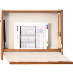 Peter Pepper 4800-D Folding Wall Mounted Desk - Self Closing - Optional Medium Oak Cabinet Sides - Express Desk Series