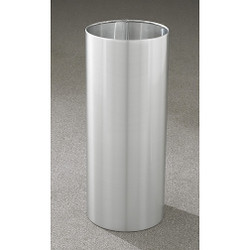 Glaro Open Top Waste Basket - 12 x 29 - 14 Gallon - 1229SA - finished in Satin Aluminum