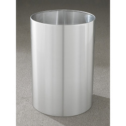 Glaro Open Top Waste Basket - 20 x 29 - 39 Gallon -2029SA - finished in Satin Aluminum