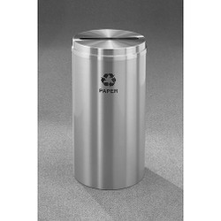 Glaro RecyclePro 1 Paper Recycling Bin - 12 x 31 - 12 Gallon - P1232SA - finished in Satin Aluminum, labeled for Paper Recycling