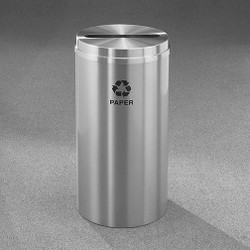 Glaro RecyclePro 1 Paper Recycling Bin - 15 x 31 - 16 Gallon - P1532SA - finished in Satin Aluminum, labeled for Paper Recycling