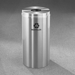 Glaro RecyclePro 1 Bottle Recycling Bin - 15 x 31 - 16 Gallon - B1532SA - finished in Satin Aluminum, Recycling Bottles Label
