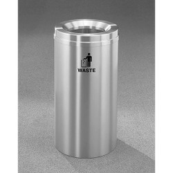 Glaro RecyclePro 1 Waste Bin - 15 x 31 - 16 Gallon - W1532SA - finished in Satin Aluminum, Waste Labeled