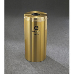 Glaro RecyclePro 1 Bottle Recycling Bin - 15 x 31 - 16 Gallon - B1532BE - finished in Satin Brass, Recycling Bottles & Cans Label