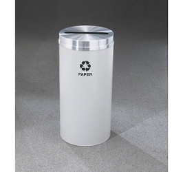 Glaro RecyclePro 1 Paper Recycling Bin - 15 x 31 - 16 Gallon - P1532 - finished in Gray with Satin Aluminum top, Recycling Paper Label