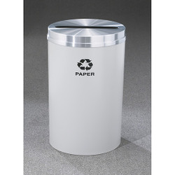 Glaro RecyclePro 1 Paper Recycling Bin - 20 x 31 - 33 Gallon - P2032 - finished in Gray with a Satin Aluminum cover, Recycling Paper Label