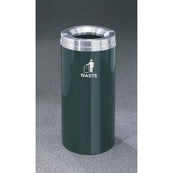 Glaro RecyclePro 1 Waste Bin - 12 x 31 - 12 Gallon - W1232 - finished in Hunter Green with a Satin Aluminum cover, Waste Label
