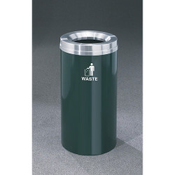 Glaro RecyclePro 1 Waste Bin - 15 x 31 - 16 Gallon - W1532 - finished in Hunter Green with a Satin Aluminum cover, Waste Label