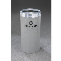 Glaro RecyclePro 1 Single Stream Recycling Bin - 12 x 31 - 12 Gallon - M1232 - finished in Granite with a Satin Aluminum cover, Recyclable Label