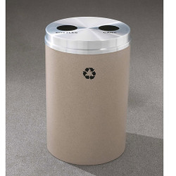 Glaro RecyclePro 2 Dual Purpose Recycling Station - 20 x 31 - 33 Gallon - BC2032 - finished in Desert Stone with a Satin Aluminum cover, Recycling Bottles and Cans Labels