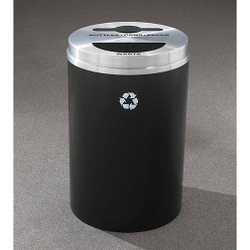 Glaro RecyclePro 2 Dual Purpose Recycling Station - 20 x 31 - 33 Gallon - MT2032 - finished in Satin Black with a Satin Aluminum cover, Recycling Bottles, Cans, Paper and Waste Labels