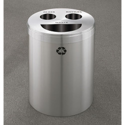 Glaro RecyclePro 3 Triple Purpose Recycling Station - 20 x 31 - 33 Gallon - BCT2032SA - finished in Satin Aluminum, Recycling Glass, Bottles and Waste Labels