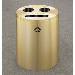 Glaro RecyclePro 3 Triple Purpose Recycling Station - 20 x 31 - 33 Gallon - BCP2032BE - finished in Satin Brass, Recycling Newspaper, Cans, and Plastic Label