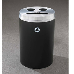 Glaro RecyclePro 3 Triple Purpose Recycling Station - 20 x 31 - 33 Gallon - BCP2032 - finished in Satin Black with a Satin Aluminum cover, Recycling Paper, Plastic and Glass Label