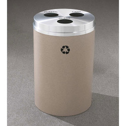 Glaro RecyclePro 3 Triple Purpose Recycling Station - 20 x 31 - 33 Gallon - BCB2032 - finished in Desert Stone with a Satin Aluminum cover, Recycling Glass, Plastic and Cans Labels