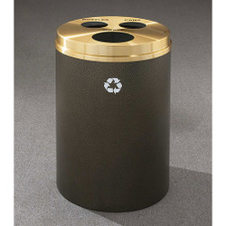 Glaro RecyclePro 3 Triple Purpose Recycling Station - 20 x 31 - 33 Gallon - BCW2032 - finished in Bronze Vein with a Satin Brass cover, Waste, Recycling Bottles and Cans Labels