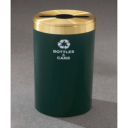 Glaro RecyclePro Value Single Stream Recycling Bin - 20 x 30 - 41 Gallon - M2042 - finished in Hunter Green with a Satin Brass cover