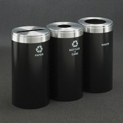 Glaro 3X RecyclePro Value Connected Recycling Station - 15 x 30 - 69 Gallon - 15423 -finished in Satin Black with Satin Aluminum cover