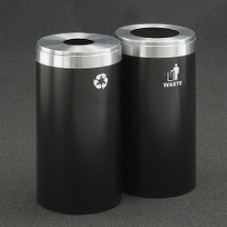 Glaro 2X RecyclePro Value Connected Recycling Station - 15 x 30 - 46 Gallon - 15422 - finished in Satin Black with a Satin Aluminum cover