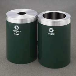 Glaro 2X RecyclePro Value Connected Recycling Station - 20 x 30 - 82 Gallon - 20422 - finished in Hunter Green with a Satin Aluminum cover