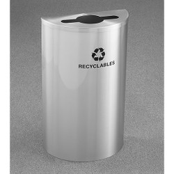 Glaro RecyclePro Profile Half Round Recycling Bin - 18 x 30 x 9 - 14 Gallon - M1899SA