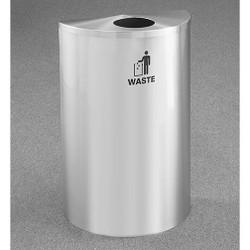Glaro RecyclePro Profile Half Round Waste Bin - 18 x 30 x 9 - 14 Gallon - W1899SA