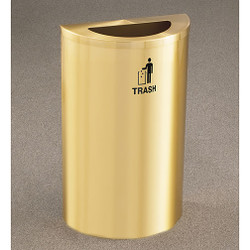 Glaro RecyclePro Profile Half Round Waste Bin - 18 x 30 x 9 - 14 Gallon - T1899BE