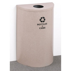 Glaro RecyclePro Profile Half Round Recycling Bin - 18 x 30 x 9 - 16 Gallon - B1899  - finished in Desert Stone