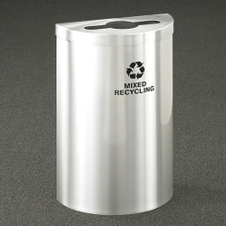 Glaro RecyclePro Profile Value Half Round Recycling Bin - 18 x 30 x 9 - 16 Gallon - M1899VSA